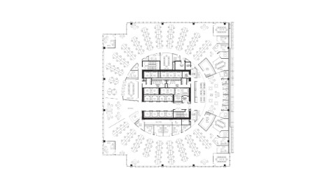 Floor plan of 12th floor office space at 111 South Wacker, Chicago.