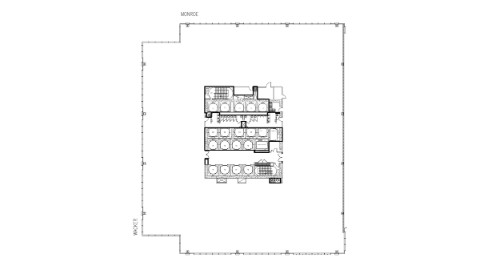 Floor plan of 14th floor office space at 111 South Wacker, Chicago.